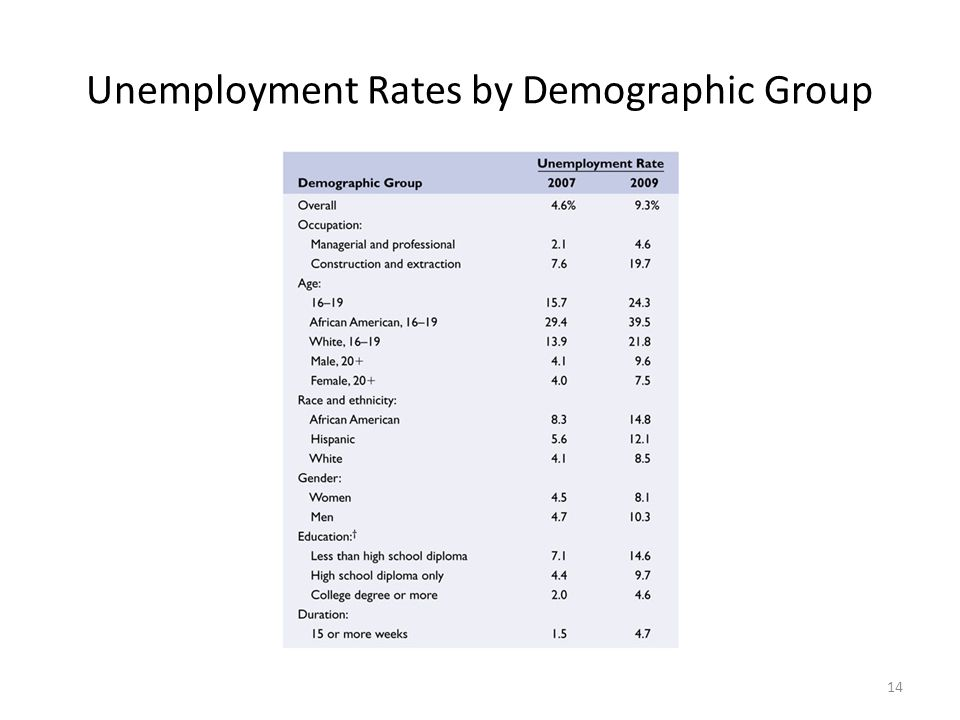 Unemployment Rates by Demographic Group 14