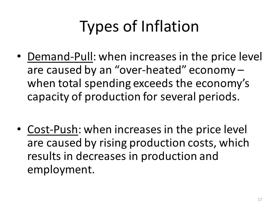 Types of Inflation Demand-Pull: when increases in the price level are caused by an over-heated economy – when total spending exceeds the economy's capacity of production for several periods.