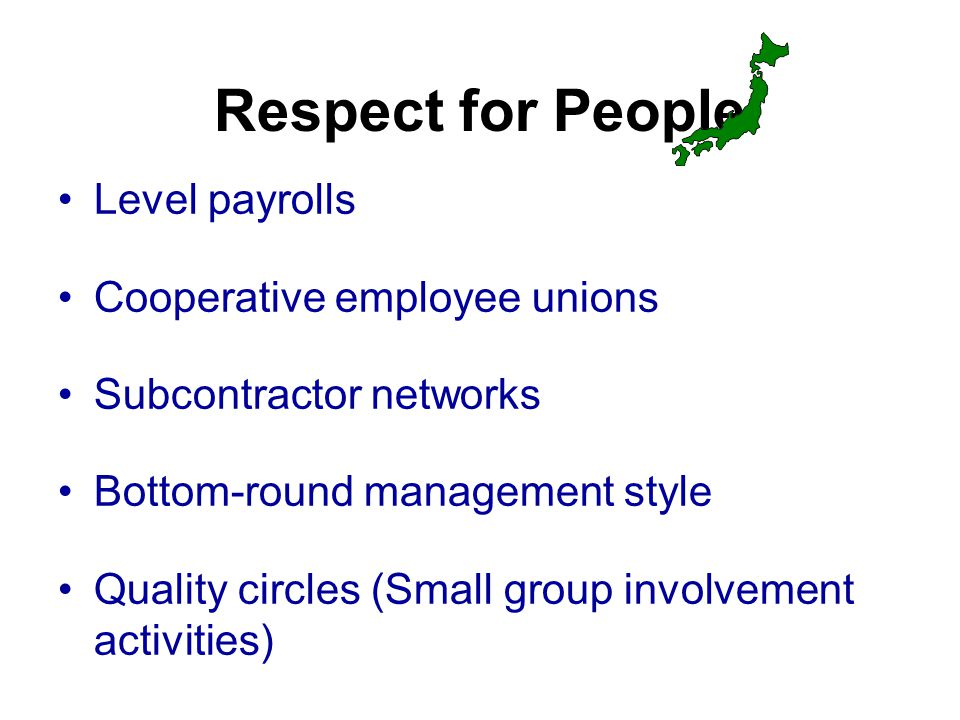 Respect for People Level payrolls Cooperative employee unions Subcontractor networks Bottom-round management style Quality circles (Small group involvement activities)