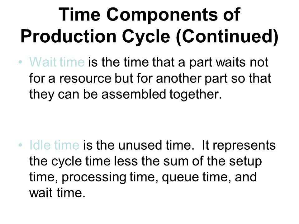 Time Components of Production Cycle (Continued) Wait time is the time that a part waits not for a resource but for another part so that they can be assembled together.