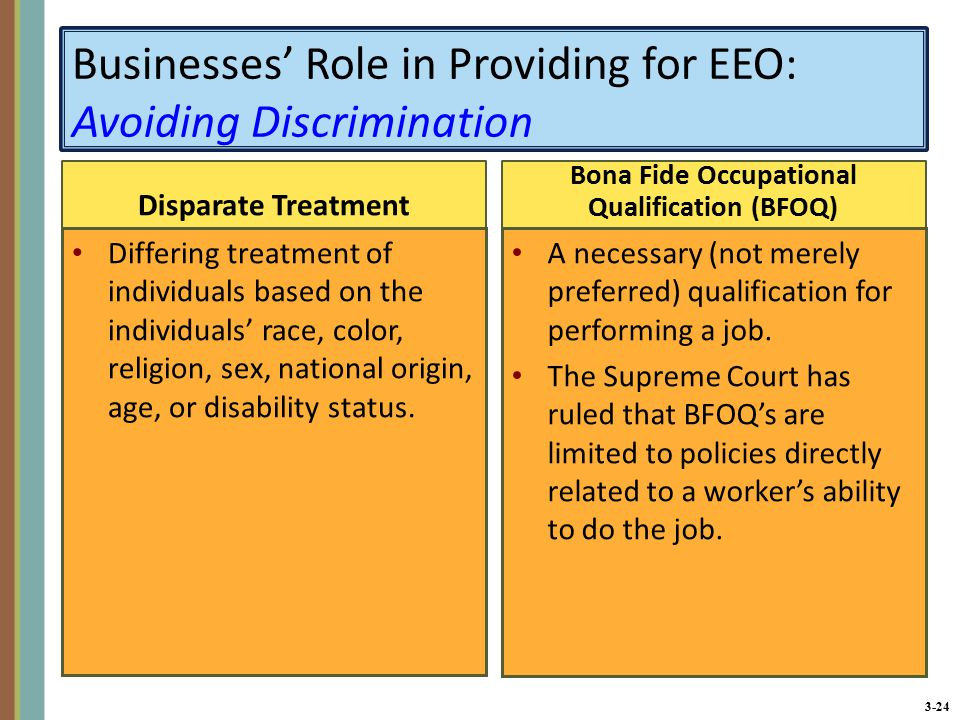 3-24 Businesses' Role in Providing for EEO: Avoiding Discrimination Disparate Treatment Differing treatment of individuals based on the individuals' race, color, religion, sex, national origin, age, or disability status.