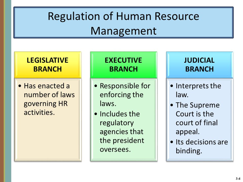 3-6 Regulation of Human Resource Management LEGISLATIVE BRANCH Has enacted a number of laws governing HR activities.
