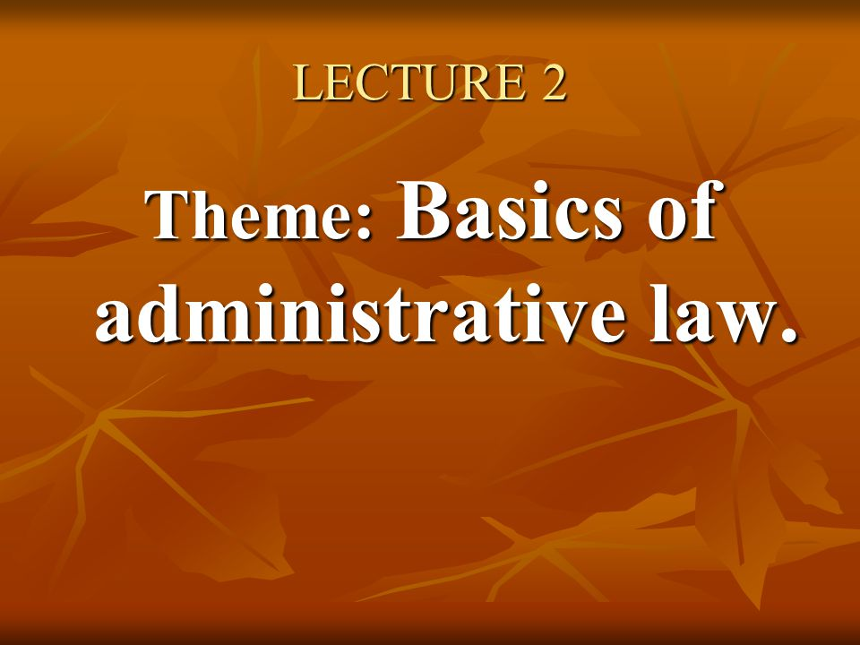 LECTURE 2 Theme: Basics of administrative law.