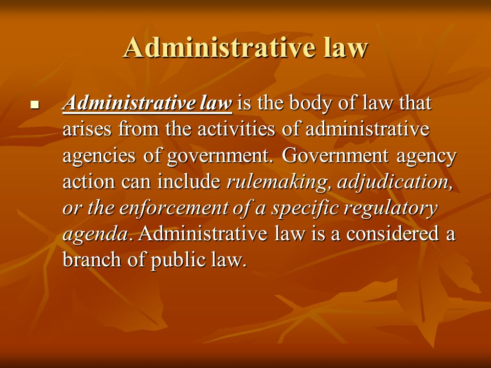 Administrative law Administrative law is the body of law that arises from the activities of administrative agencies of government.