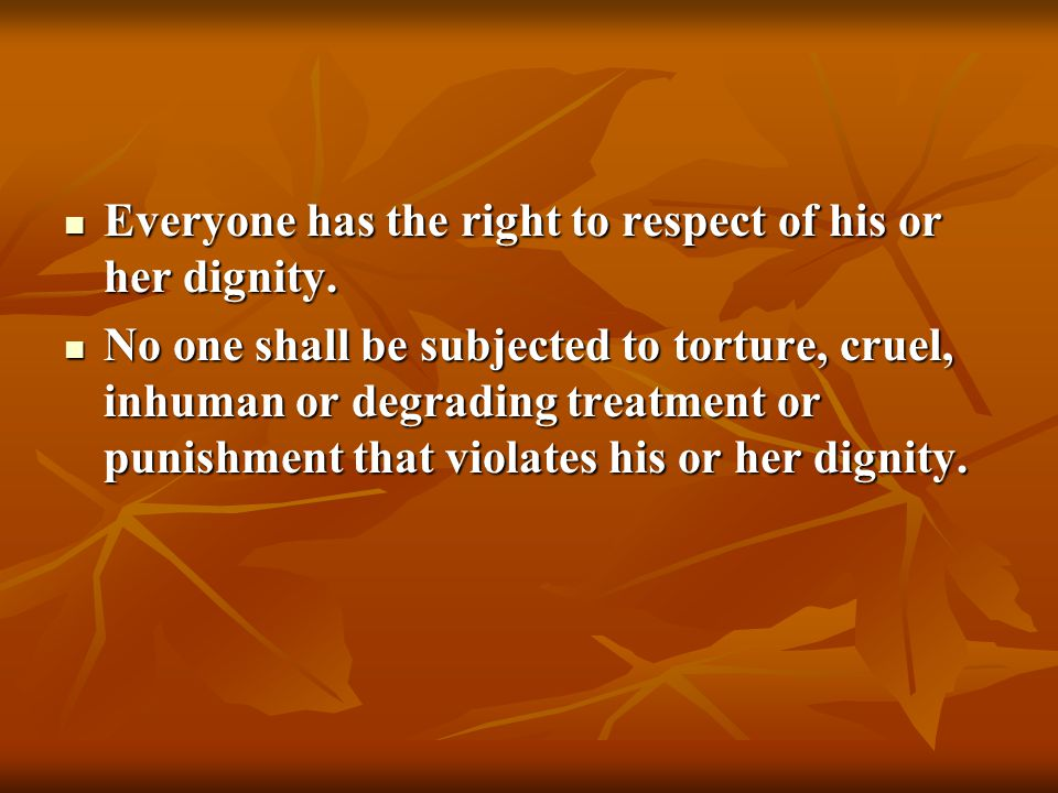Everyone has the right to respect of his or her dignity.
