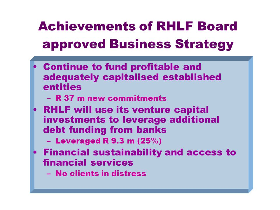 Achievements of RHLF Board approved Business Strategy Continue to fund profitable and adequately capitalised established entities –R 37 m new commitments RHLF will use its venture capital investments to leverage additional debt funding from banks –Leveraged R 9.3 m (25%) Financial sustainability and access to financial services –No clients in distress