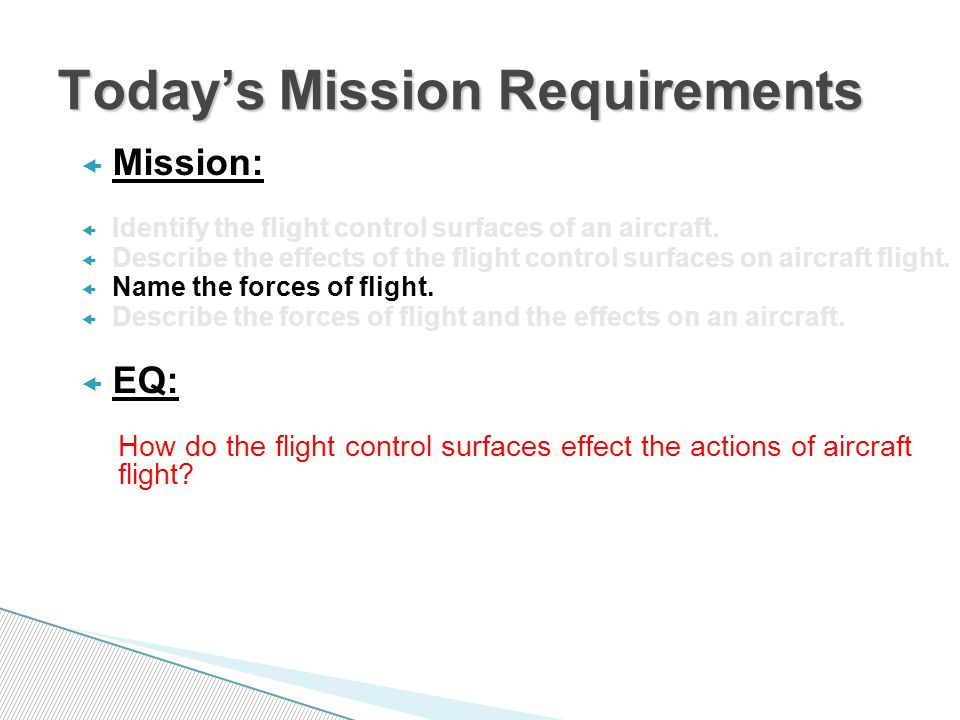  Mission:  Identify the flight control surfaces of an aircraft.