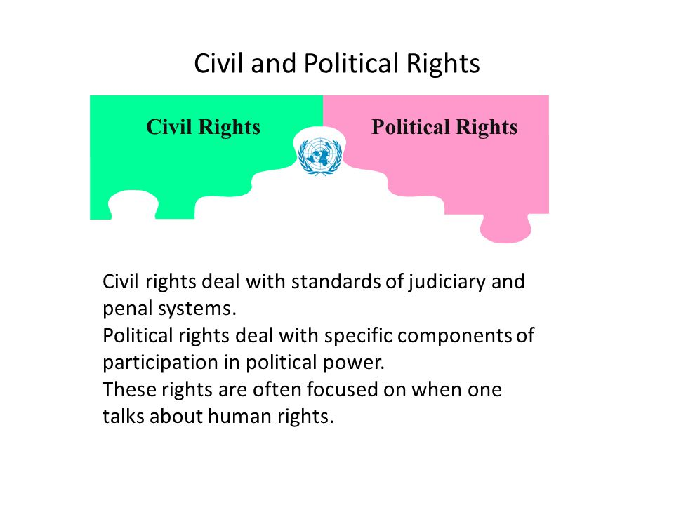 Civil and Political Rights Civil RightsPolitical Rights Civil rights deal with standards of judiciary and penal systems.