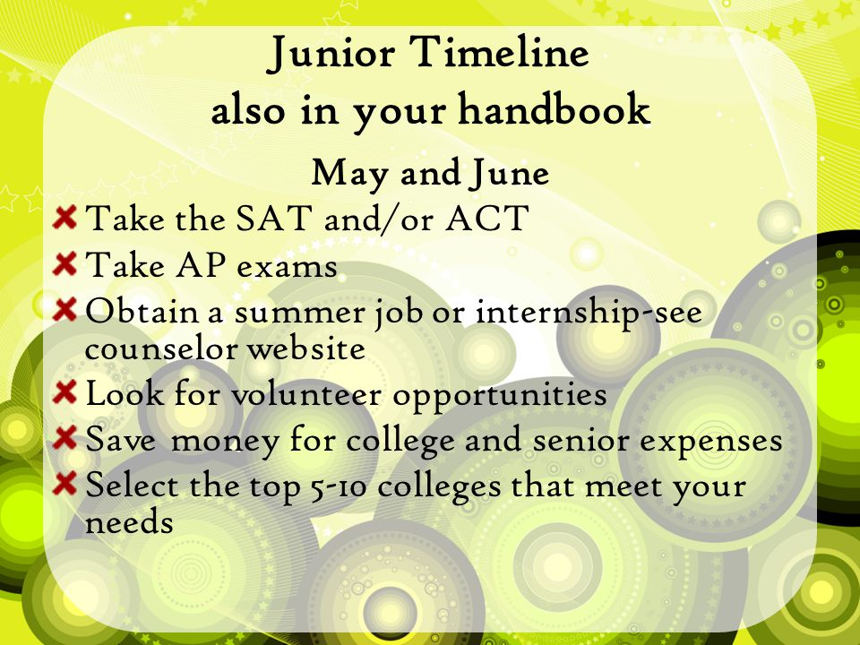 Junior Timeline also in your handbook May and June Take the SAT and/or ACT Take AP exams Obtain a summer job or internship-see c0unselor website Look for volunteer opportunities Save money for college and senior expenses Select the top 5-10 colleges that meet your needs