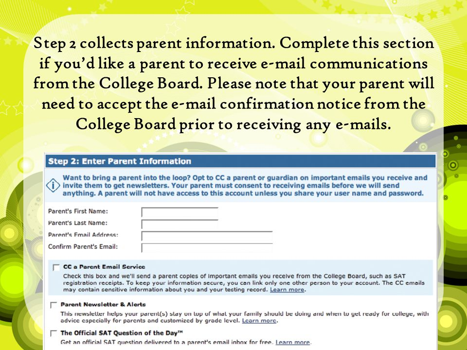 Step 2 collects parent information.