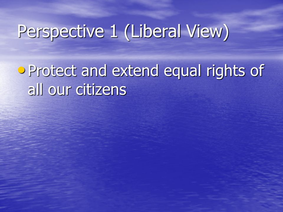 Perspective 1 (Liberal View) Protect and extend equal rights of all our citizens Protect and extend equal rights of all our citizens