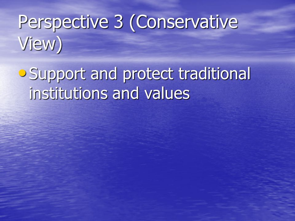 Perspective 3 (Conservative View) Support and protect traditional institutions and values Support and protect traditional institutions and values