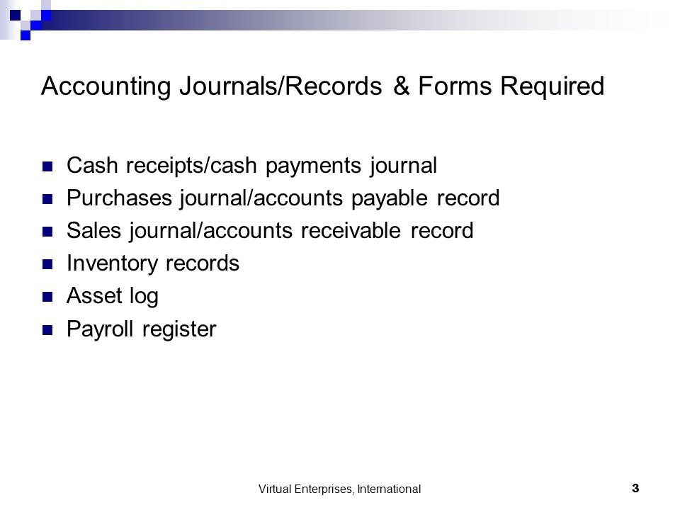 Virtual Enterprises, International3 Accounting Journals/Records & Forms Required Cash receipts/cash payments journal Purchases journal/accounts payable record Sales journal/accounts receivable record Inventory records Asset log Payroll register