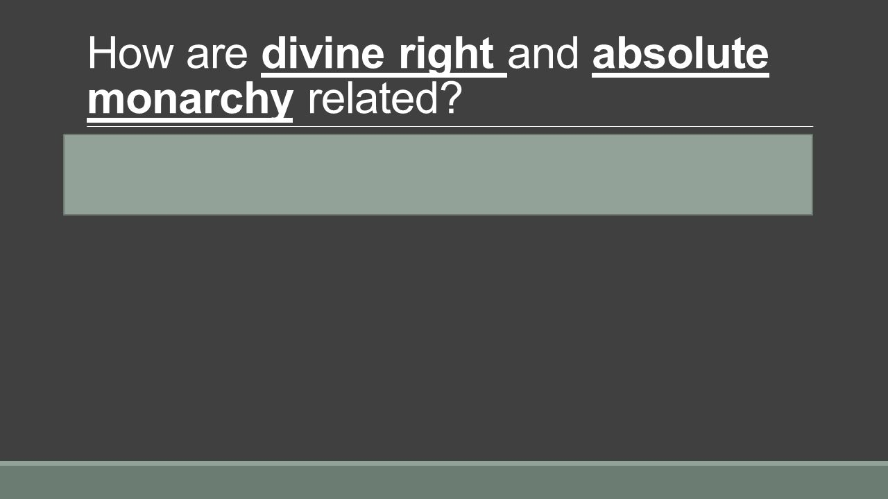 How are divine right and absolute monarchy related.