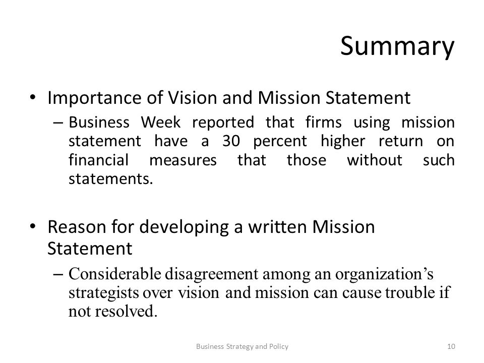 Summary Importance Of Vision And Mission Statement U2013 Business Week Reported  That Firms Using Mission Statement