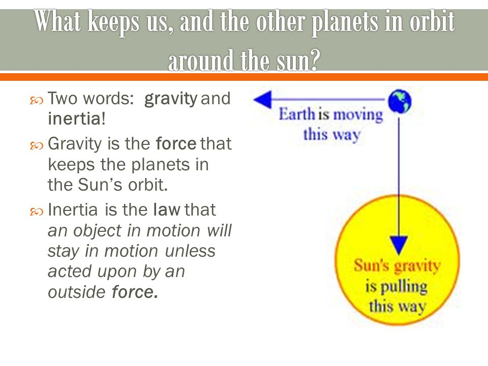  Two words: gravity and inertia.  Gravity is the force that keeps the planets in the Sun's orbit.