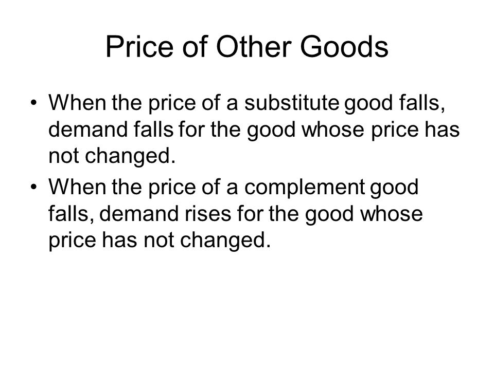 Price of Other Goods When the price of a substitute good falls, demand falls for the good whose price has not changed.
