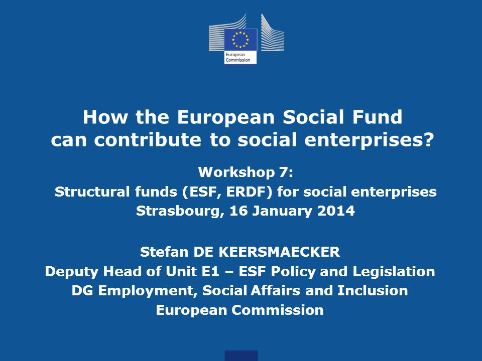 How the European Social Fund can contribute to social enterprises.