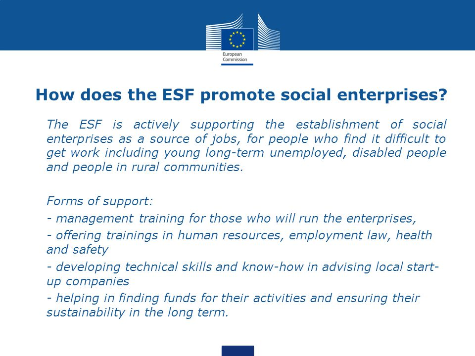 How does the ESF promote social enterprises.
