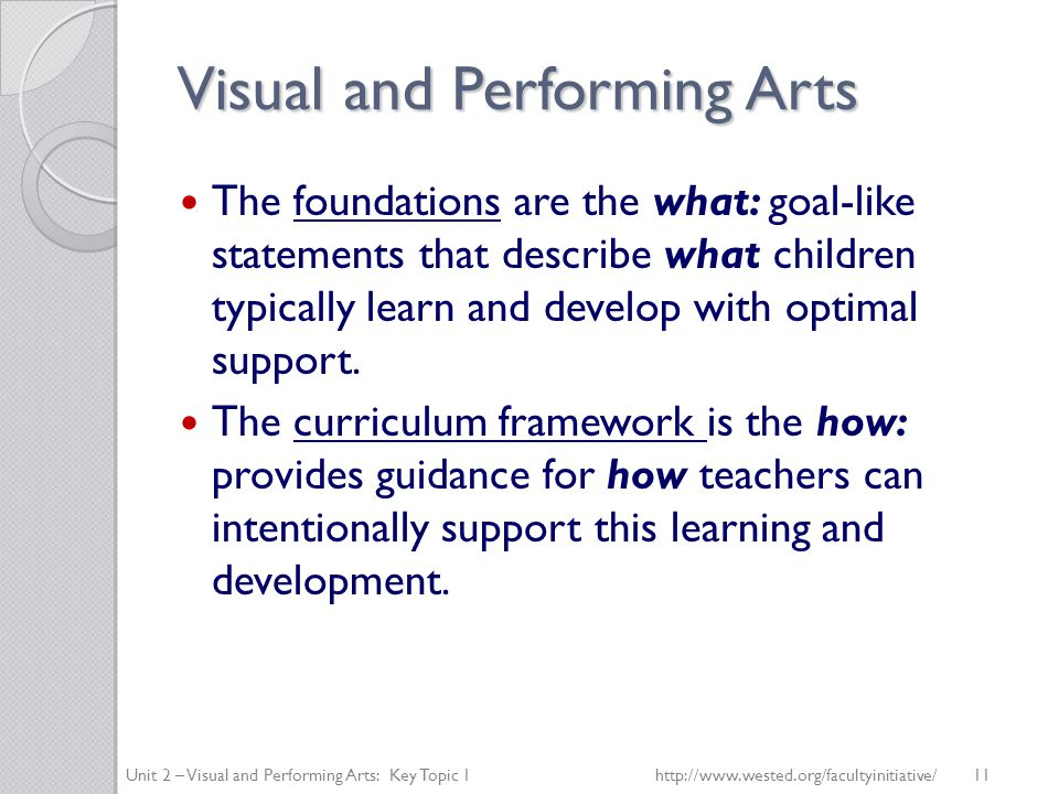 Visual and Performing Arts The foundations are the what: goal-like statements that describe what children typically learn and develop with optimal support.