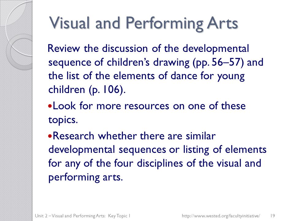Visual and Performing Arts Review the discussion of the developmental sequence of children's drawing (pp.