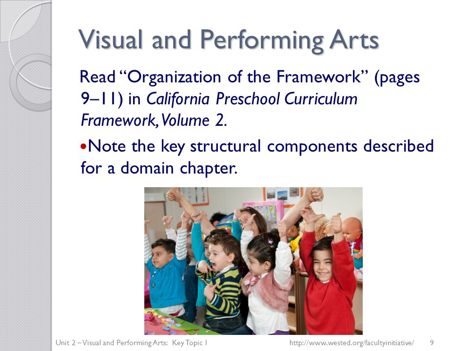 Visual and Performing Arts Read Organization of the Framework (pages 9–11) in California Preschool Curriculum Framework, Volume 2.