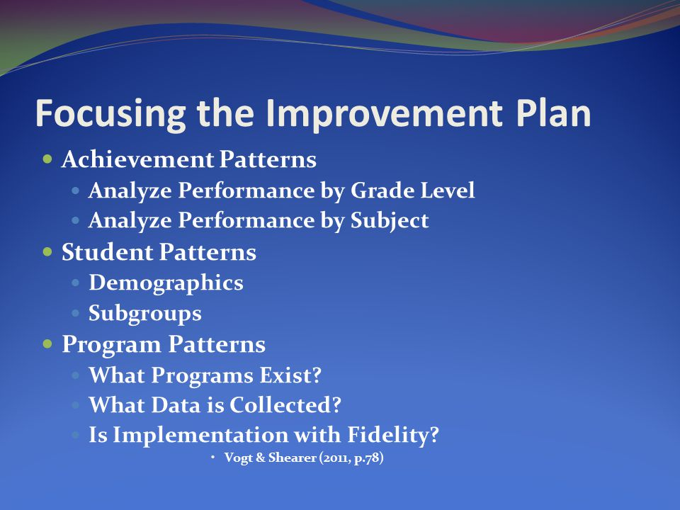 Focusing the Improvement Plan Achievement Patterns Analyze Performance by Grade Level Analyze Performance by Subject Student Patterns Demographics Subgroups Program Patterns What Programs Exist.