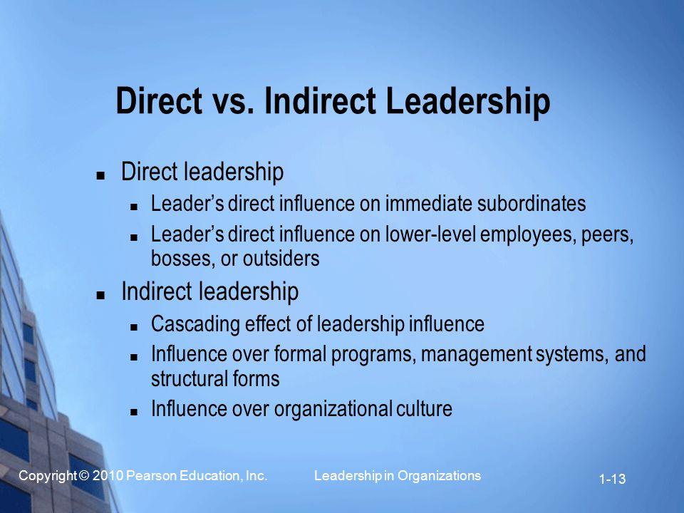 Copyright © 2010 Pearson Education, Inc. Leadership in Organizations 1-13 Direct vs. Indirect Leadership Direct leadership Leader's direct influence o