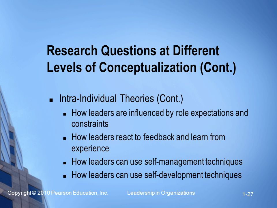 Copyright © 2010 Pearson Education, Inc. Leadership in Organizations 1-27 Intra-Individual Theories (Cont.) How leaders are influenced by role expecta