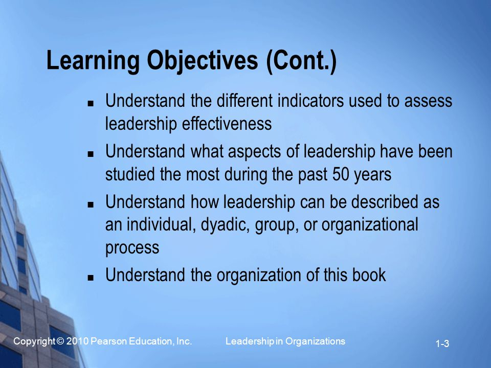 Copyright © 2010 Pearson Education, Inc. Leadership in Organizations 1-3 Learning Objectives (Cont.) Understand the different indicators used to asses