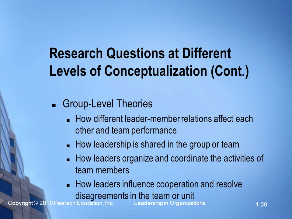 Copyright © 2010 Pearson Education, Inc. Leadership in Organizations 1-30 Group-Level Theories How different leader-member relations affect each other