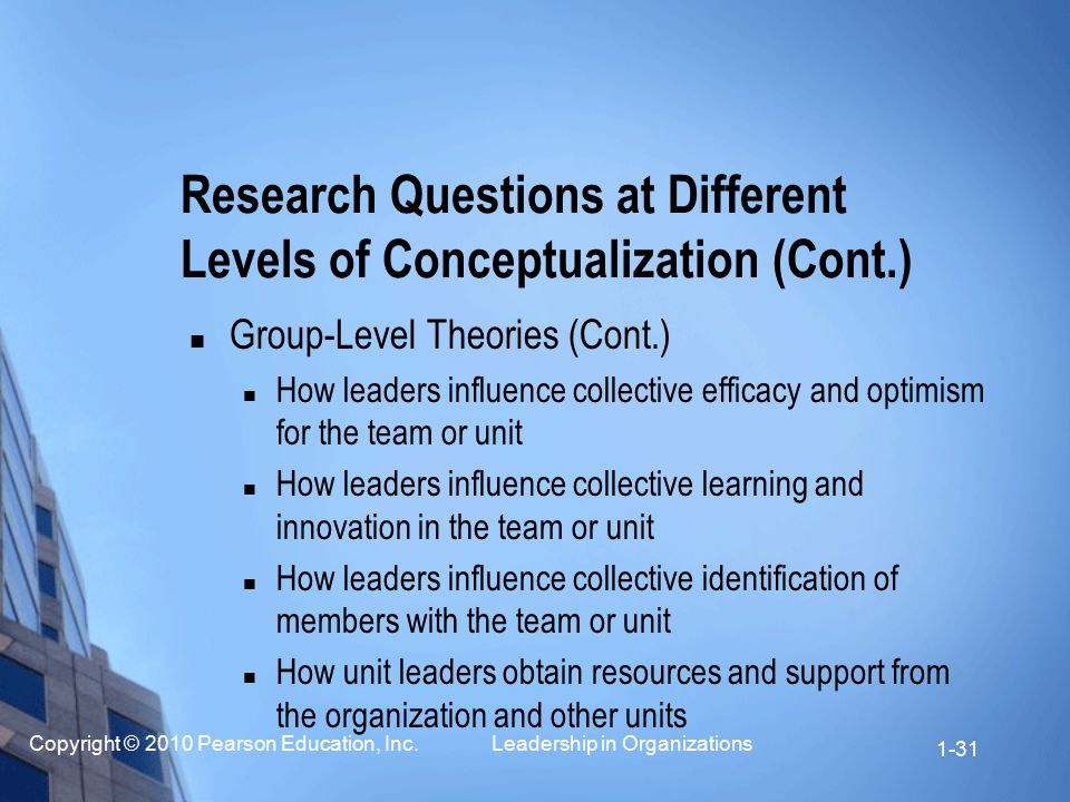 Copyright © 2010 Pearson Education, Inc. Leadership in Organizations 1-31 Group-Level Theories (Cont.) How leaders influence collective efficacy and o