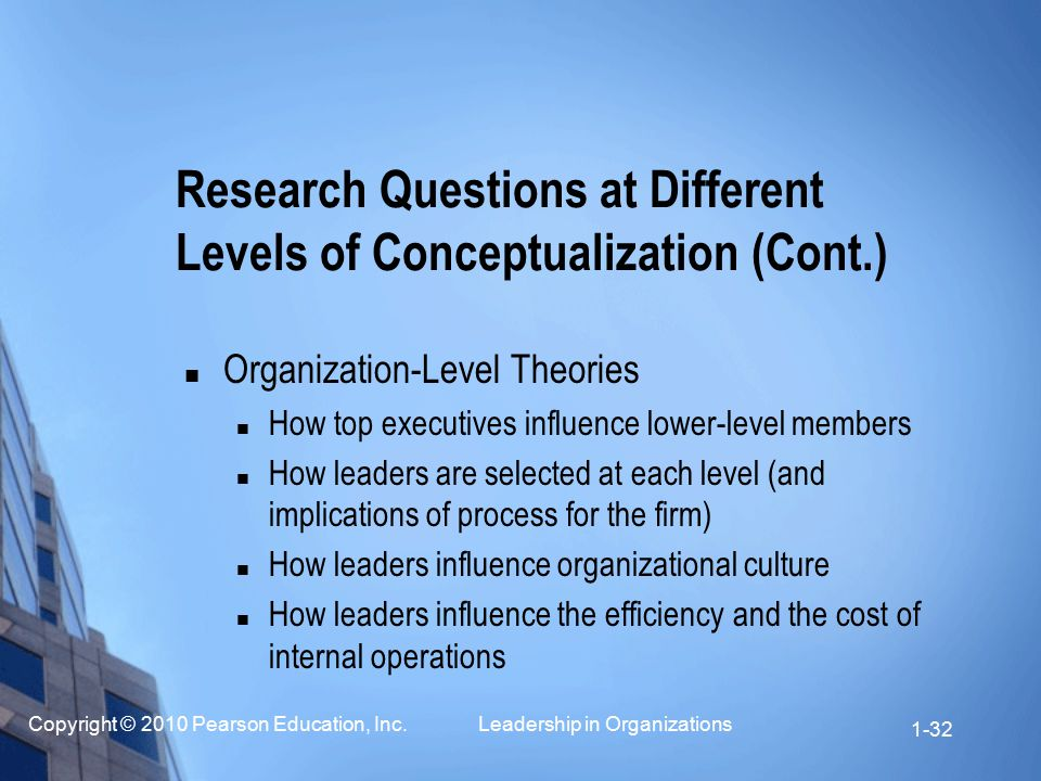 Copyright © 2010 Pearson Education, Inc. Leadership in Organizations 1-32 Organization-Level Theories How top executives influence lower-level members