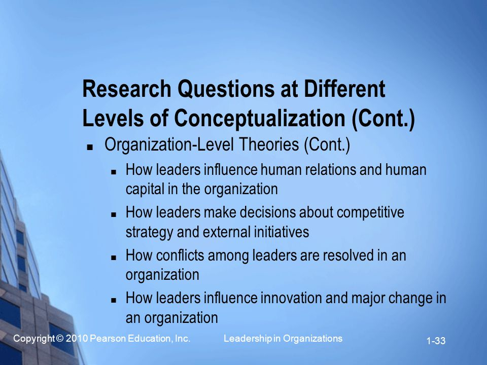 Copyright © 2010 Pearson Education, Inc. Leadership in Organizations 1-33 Organization-Level Theories (Cont.) How leaders influence human relations an