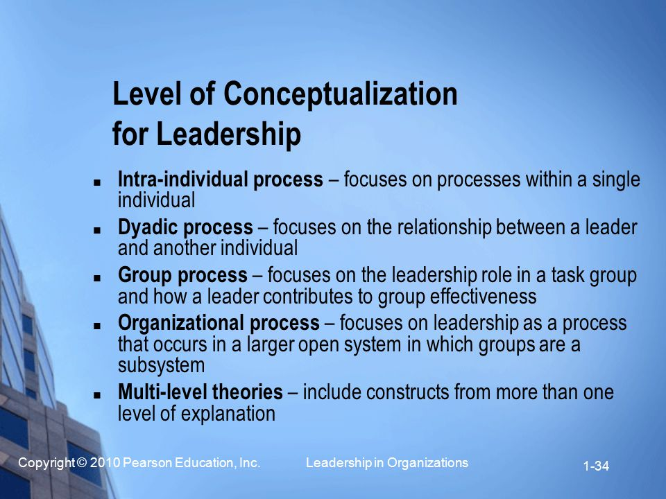 Copyright © 2010 Pearson Education, Inc. Leadership in Organizations 1-34 Level of Conceptualization for Leadership Intra-individual process – focuses
