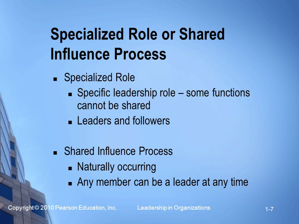 Copyright © 2010 Pearson Education, Inc. Leadership in Organizations 1-7 Specialized Role or Shared Influence Process Specialized Role Specific leader