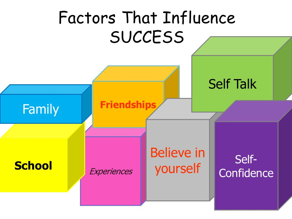 Factors That Influence SUCCESS Experiences School Friendships Believe in yourself Family Self Talk Self- Confidence