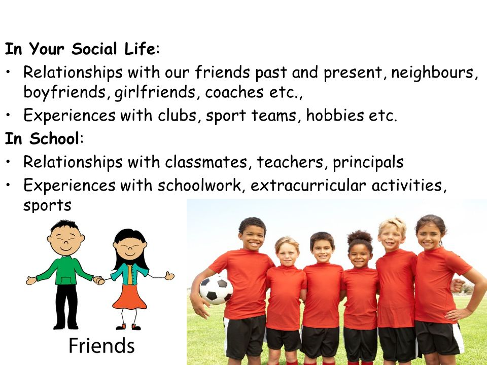 In Your Social Life: Relationships with our friends past and present, neighbours, boyfriends, girlfriends, coaches etc., Experiences with clubs, sport teams, hobbies etc.