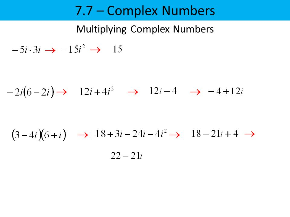      Multiplying Complex Numbers  