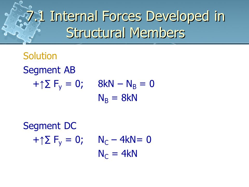 7.1 Internal Forces Developed in Structural Members Solution Segment AB + ↑ ∑ F y = 0;8kN – N B = 0 N B = 8kN Segment DC + ↑ ∑ F y = 0;N C – 4kN= 0 N C = 4kN