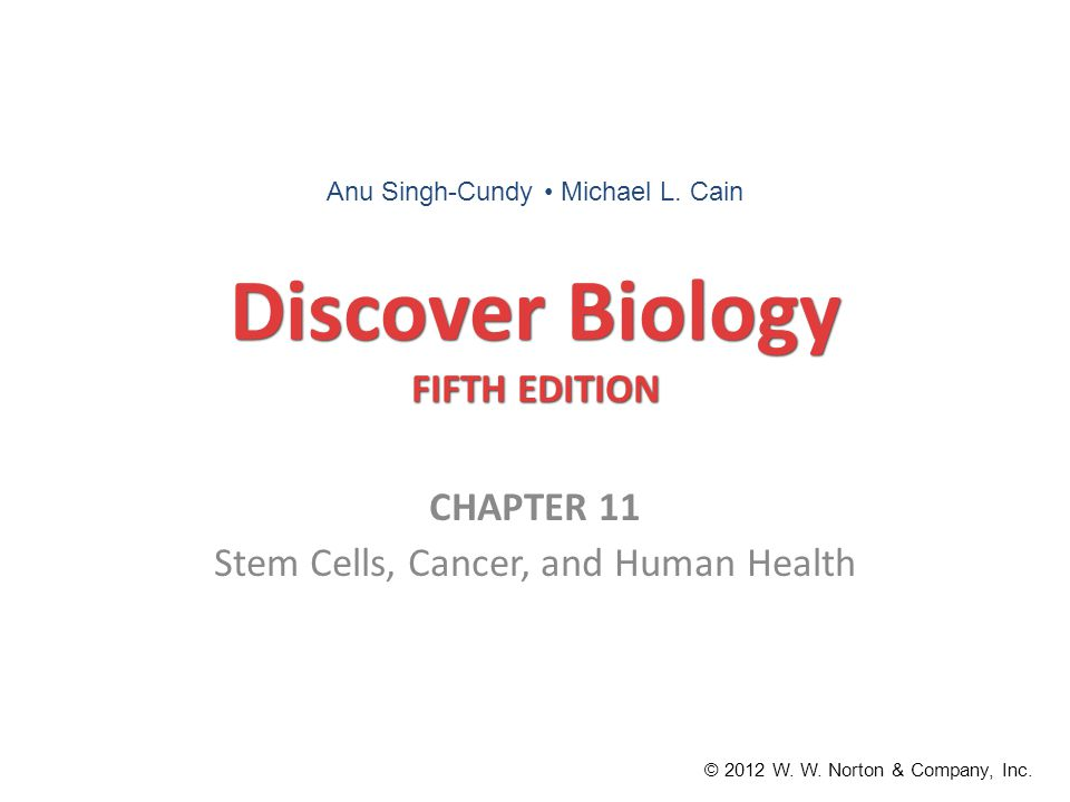 Discover Biology FIFTH EDITION CHAPTER 11 Stem Cells, Cancer, and Human Health © 2012 W.