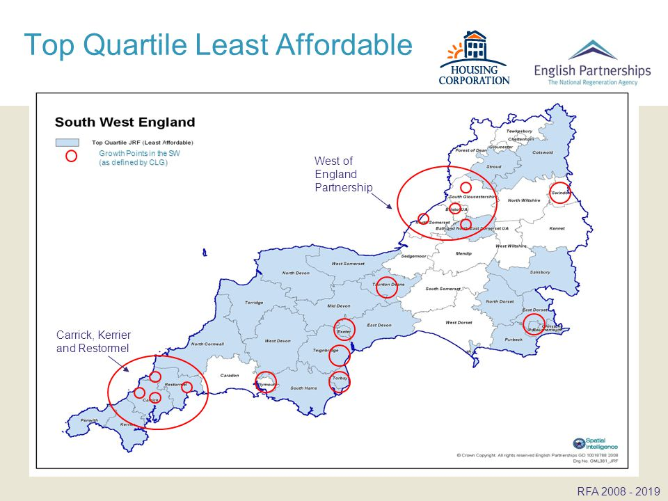 Top Quartile Least Affordable RFA West of England Partnership Carrick, Kerrier and Restormel Growth Points in the SW (as defined by CLG)