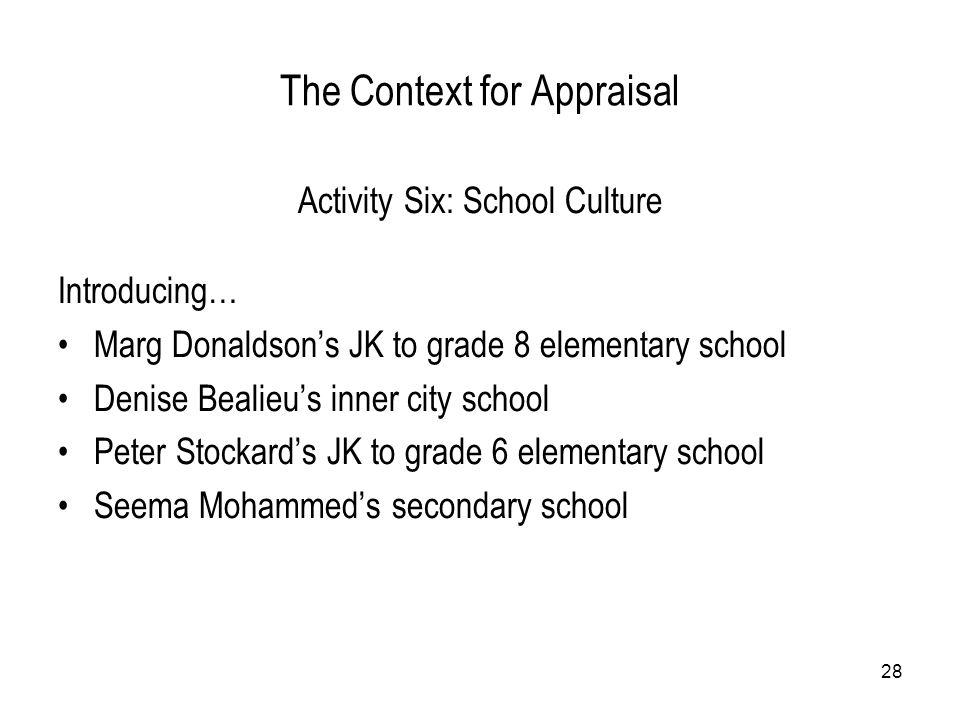 28 The Context for Appraisal Activity Six: School Culture Introducing… Marg Donaldson's JK to grade 8 elementary school Denise Bealieu's inner city sc