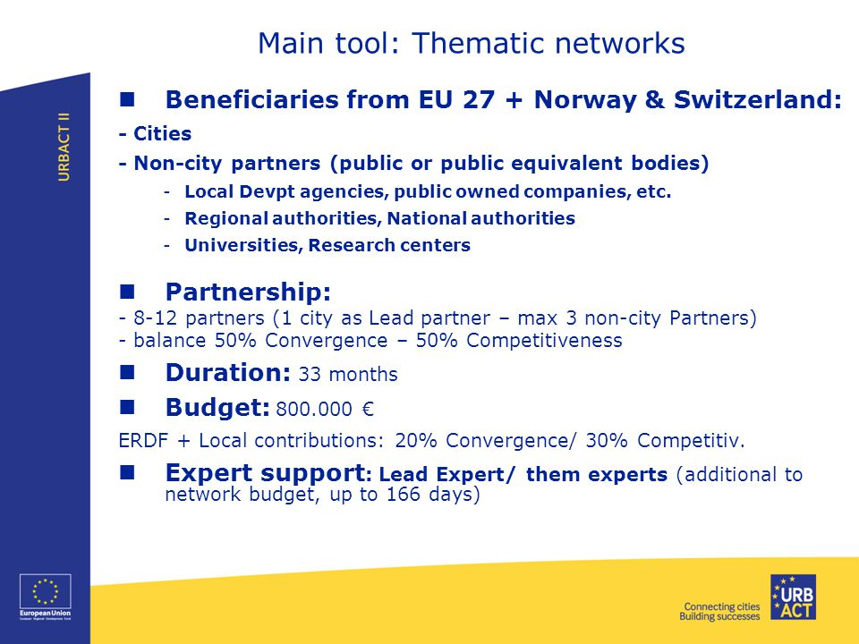Beneficiaries from EU 27 + Norway & Switzerland: - Cities - Non-city partners (public or public equivalent bodies) -Local Devpt agencies, public owned companies, etc.