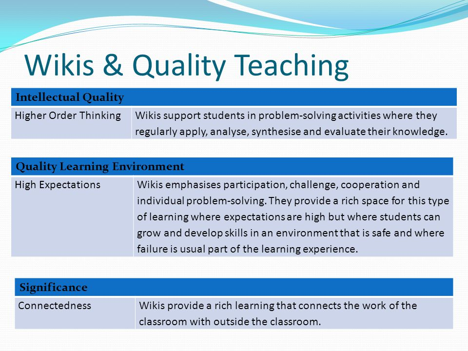 Wikis & Quality Teaching Intellectual Quality Higher Order ThinkingWikis support students in problem-solving activities where they regularly apply, analyse, synthesise and evaluate their knowledge.