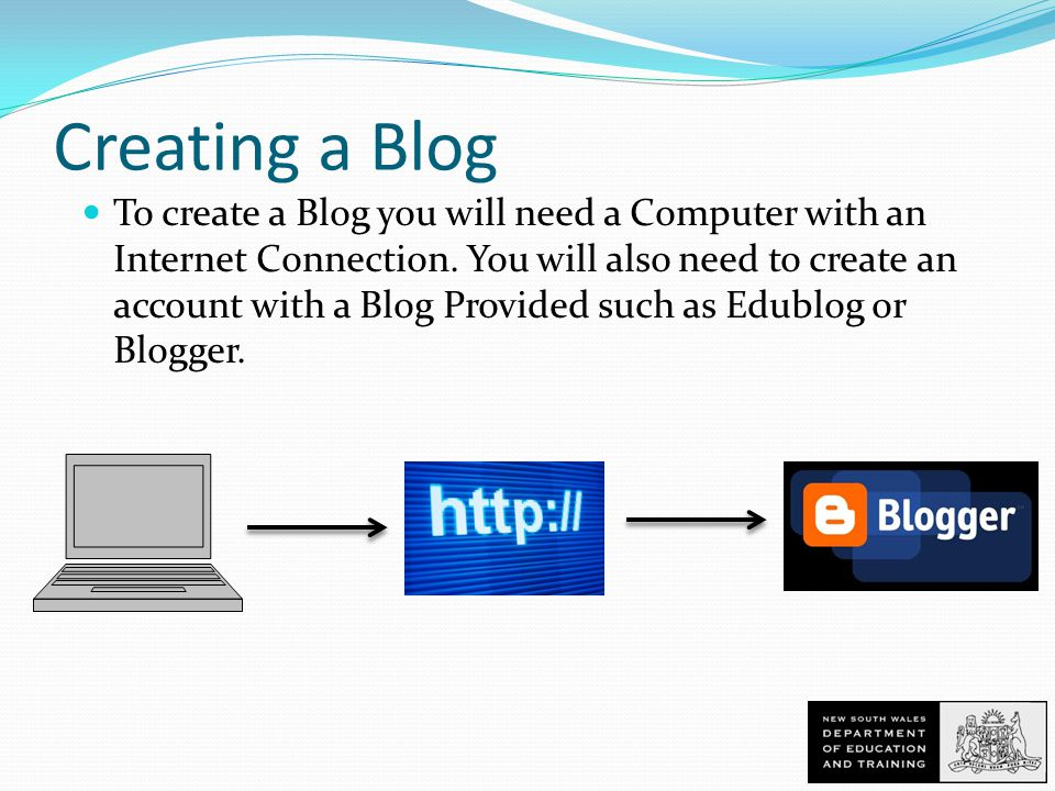 Creating a Blog To create a Blog you will need a Computer with an Internet Connection.