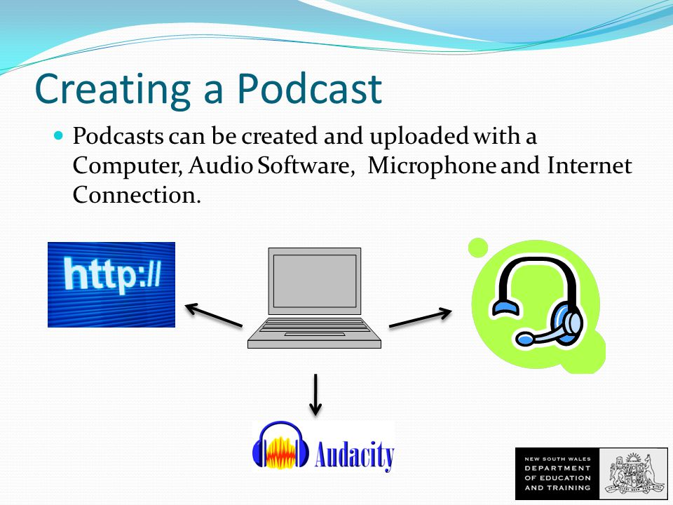 Creating a Podcast Podcasts can be created and uploaded with a Computer, Audio Software, Microphone and Internet Connection.