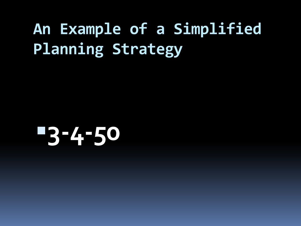An Example of a Simplified Planning Strategy 