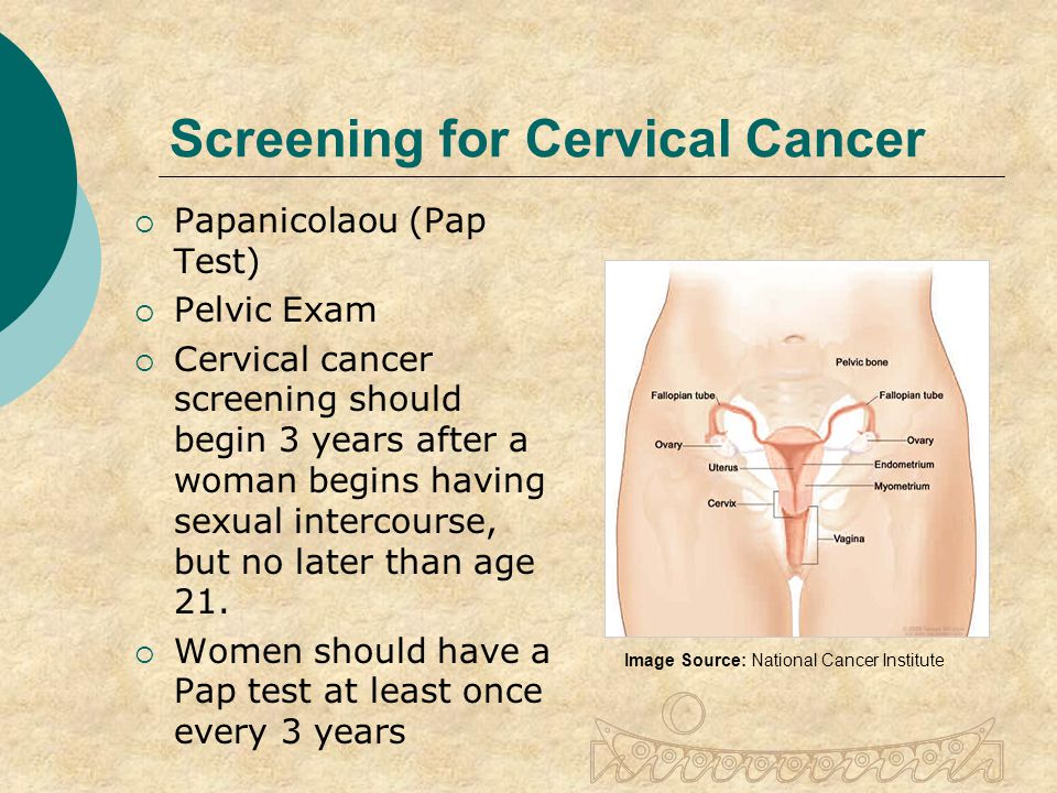 Screening for Cervical Cancer  Papanicolaou (Pap Test)  Pelvic Exam  Cervical cancer screening should begin 3 years after a woman begins having sexual intercourse, but no later than age 21.