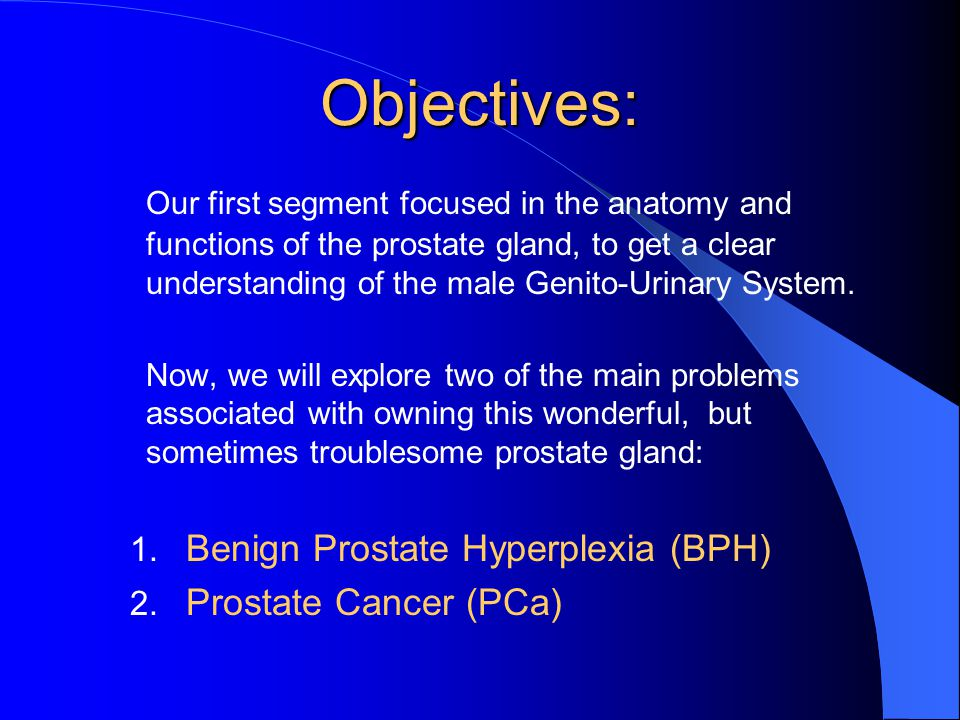 Objectives: Our first segment focused in the anatomy and functions of the prostate gland, to get a clear understanding of the male Genito-Urinary System.